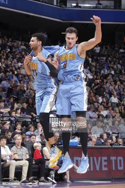 Jamal Murray and Danilo Gallinari of the Denver Nuggets celebrate against the Sacramento Kings on March 11 2017 at Golden 1 Center in Sacramento...