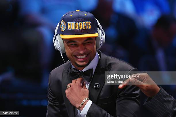 Jamal Murray laughs while being interviewed after being drafted seventh overall by the Denver Nuggets in the first round of the 2016 NBA Draft at the...