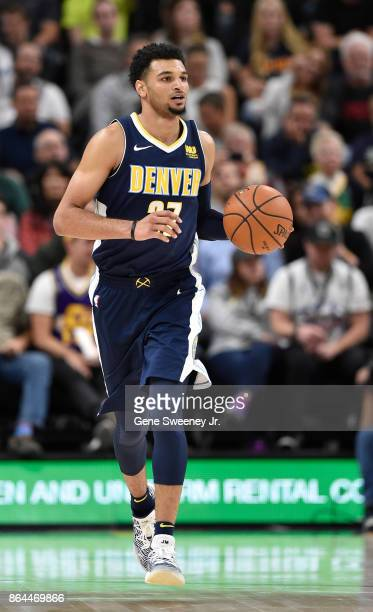 Jamal Murray of the Denver Nuggets brings the ball up court against the Utah Jazz at Vivint Smart Home Arena on October 18 2017 in Salt Lake City...