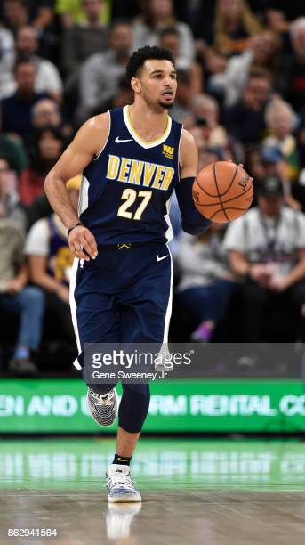 Jamal Murray of the Denver Nuggets brings the ball up court in the second half against the Utah Jazz at Vivint Smart Home Arena on October 18 2017 in...