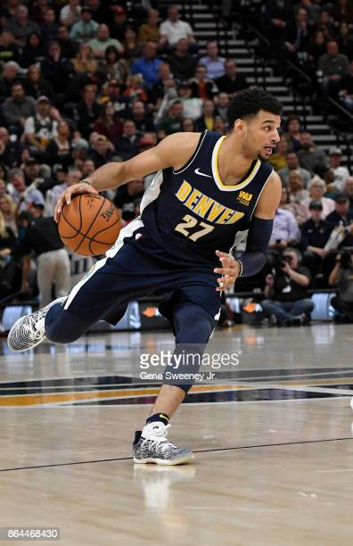 Jamal Murray of the Denver Nuggets controls the ball against the Utah Jazz at Vivint Smart Home Arena on October 18 2017 in Salt Lake City Utah NOTE...