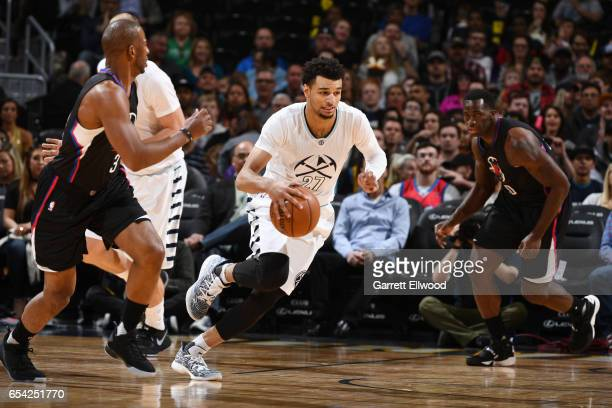 Jamal Murray of the Denver Nuggets drives to the basket against the LA Clippers during the game on March 16 2017 at the Pepsi Center in Denver...