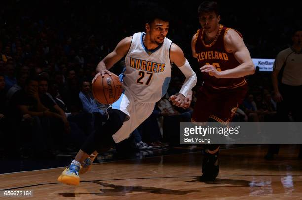 Jamal Murray of the Denver Nuggets drives to the basket during the game against the Cleveland Cavaliers on March 22 2017 at the Pepsi Center in...
