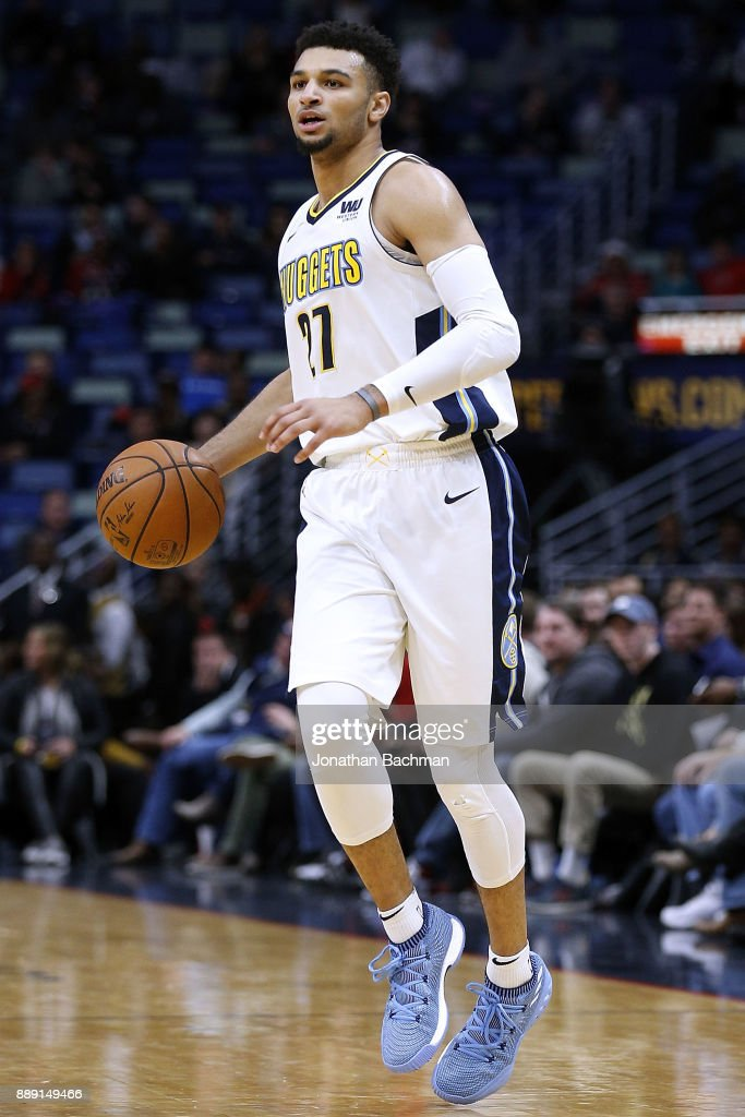 Jamal Murray #27 of the Denver Nuggets drives with the ball during the second half of a game against the New Orleans Pelicans at the Smoothie King Center on December 6, 2017 in New Orleans, Louisiana.