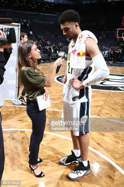 Jamal Murray of the Denver Nuggets gets interveiwed after the game against the Brooklyn Nets on October 29 2017 at Barclays Center in Brooklyn New...