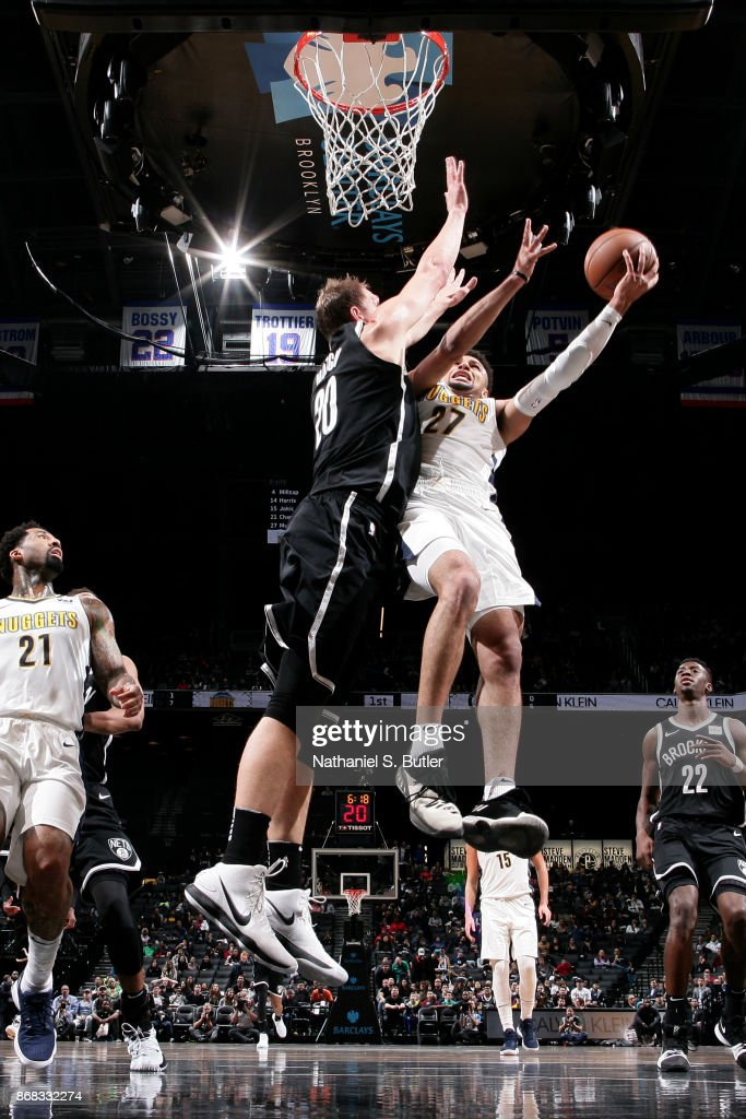 Jamal Murray #27 of the Denver Nuggets goes to the basket against the Brooklyn Nets on October 29, 2017 at Barclays Center in Brooklyn, New York.