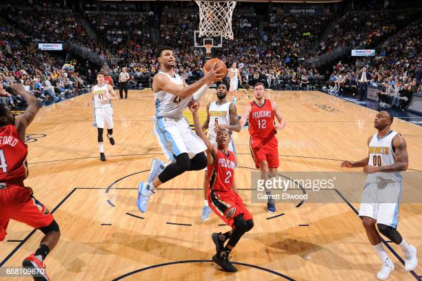 Jamal Murray of the Denver Nuggets goes up for a lay up against the New Orleans Pelicans on March 26 2017 at the Pepsi Center in Denver Colorado NOTE...