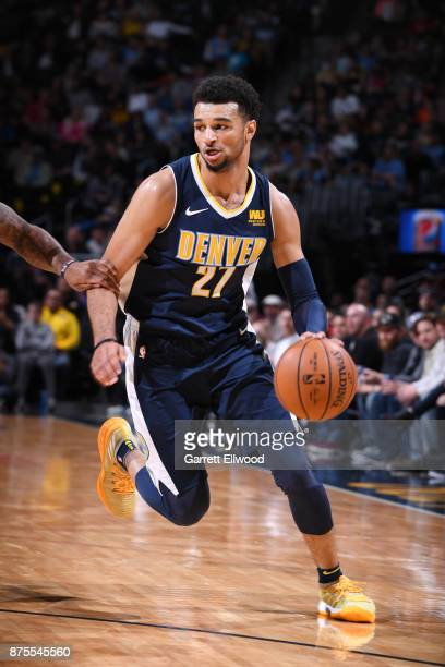 Jamal Murray of the Denver Nuggets handles the ball against the New Orleans Pelicans on November 17 2017 at the Pepsi Center in Denver Colorado NOTE...