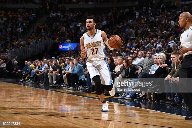 Jamal Murray of the Denver Nuggets handles the ball against the Golden State Warriors on November 10 2016 at the Pepsi Center in Denver Colorado NOTE...