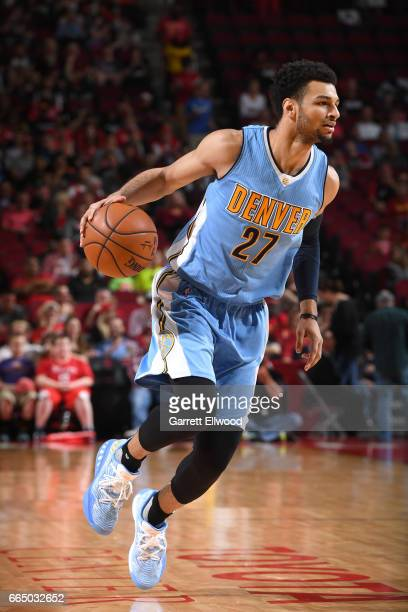 Jamal Murray of the Denver Nuggets handles the ball against the Houston Rockets on April 5 2017 at Toyota Center in Houston Texas NOTE TO USER User...