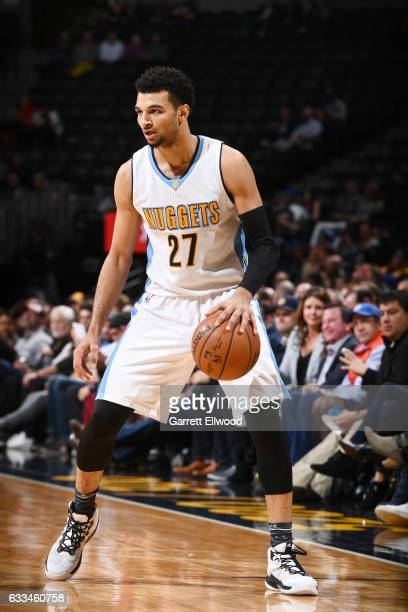 Jamal Murray of the Denver Nuggets handles the ball against the Memphis Grizzlies during the game on February 1 2017 at the Pepsi Center in Denver...
