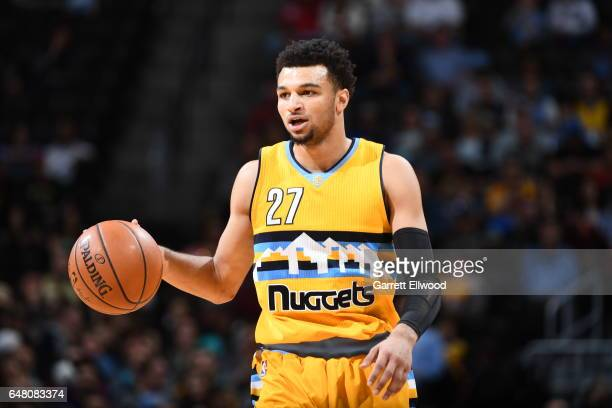 Jamal Murray of the Denver Nuggets handles the ball against the Charlotte Hornets during the game on March 4 2017 at the Pepsi Center in Denver...