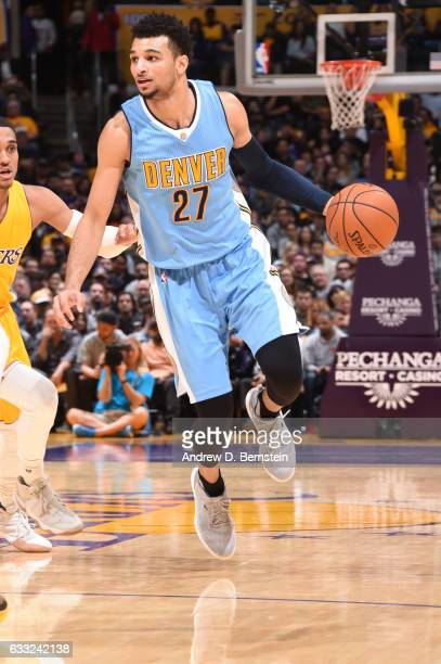 Jamal Murray of the Denver Nuggets handles the ball during a game against the Los Angeles Lakers on January 31 2017 at STAPLES Center in Los Angeles...