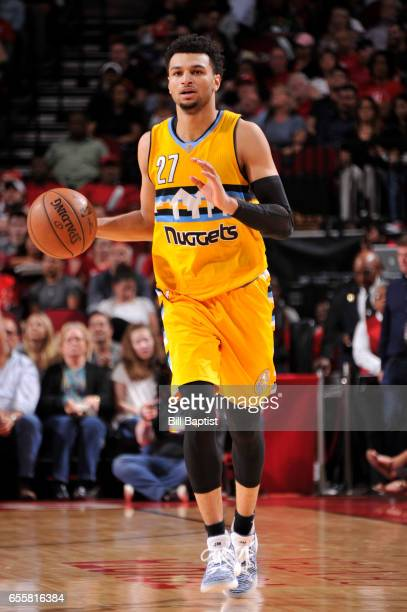 Jamal Murray of the Denver Nuggets handles the ball during a game against the Houston Rockets on March 20 2017 at the Toyota Center in Houston Texas...