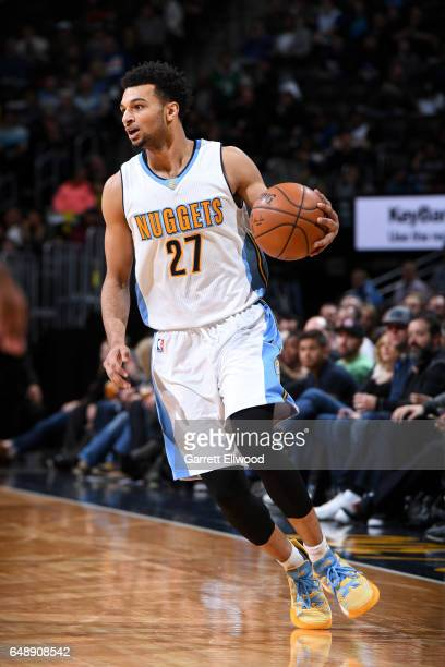 Jamal Murray of the Denver Nuggets handles the ball during the game against the Sacramento Kings on March 6 2017 at the Pepsi Center in Denver...