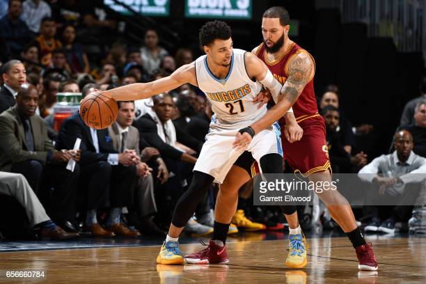 Jamal Murray of the Denver Nuggets handles the ball during the game against the Cleveland Cavaliers on March 22 2017 at the Pepsi Center in Denver...