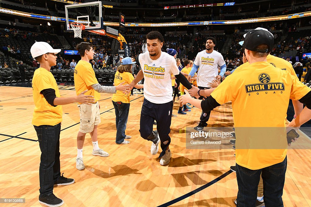 Jamal Murray #27 of the Denver Nuggets is introduce before the game against the Portland Trail Blazers on October 29, 2016 at the Pepsi Center in Denver, Colorado.