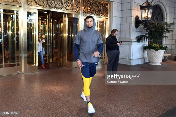 Jamal Murray of the Denver Nuggets leaves the hotel for practice prior to the game against the Utah Jazz on October 18 2017 at the Vivint Smart Home...