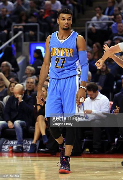 Jamal Murray of the Denver Nuggets looks on during the first half of an NBA game against the Toronto Raptors at Air Canada Centre on October 31 2016...