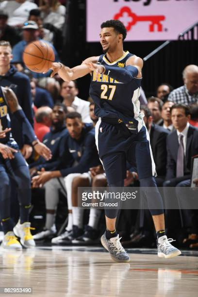 Jamal Murray of the Denver Nuggets passes the ball against the Utah Jazz during the game on October 18 2017 at vivintSmartHome Arena in Salt Lake...