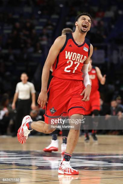 Jamal Murray of the Denver Nuggets reacts in the second half against the US Team during the 2017 BBVA Compass Rising Stars Challenge at Smoothie King...