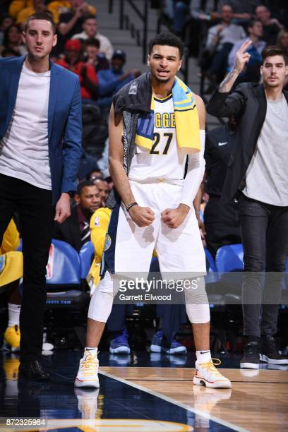 Jamal Murray of the Denver Nuggets reacts to a play against the Oklahoma City Thunder on November 9 2017 at the Pepsi Center in Denver Colorado NOTE...