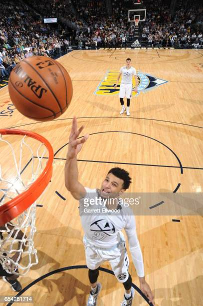 Jamal Murray of the Denver Nuggets shoots a lay up against the LA Clippers during the game on March 16 2017 at the Pepsi Center in Denver Colorado...