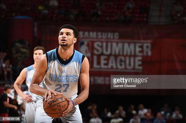 Jamal Murray of the Denver Nuggets shoots against the Phoenix Suns during the 2016 NBA Las Vegas Summer League on July 16 2016 at Thomas Mack Center...