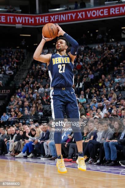 Jamal Murray of the Denver Nuggets shoots the ball against the Sacramento Kings on November 20 2017 at Golden 1 Center in Sacramento California NOTE...