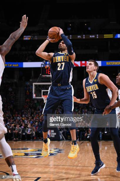 Jamal Murray of the Denver Nuggets shoots the ball against the New Orleans Pelicans on November 17 2017 at the Pepsi Center in Denver Colorado NOTE...