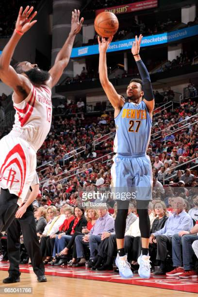 Jamal Murray of the Denver Nuggets shoots the ball against the Houston Rockets on April 5 2017 at the Toyota Center in Houston Texas NOTE TO USER...