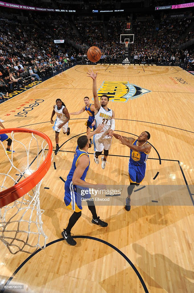 Jamal Murray #27 of the Denver Nuggets shoots the ball during the game against the Golden State Warriors on November 10, 2016 at the Pepsi Center in Denver, Colorado.