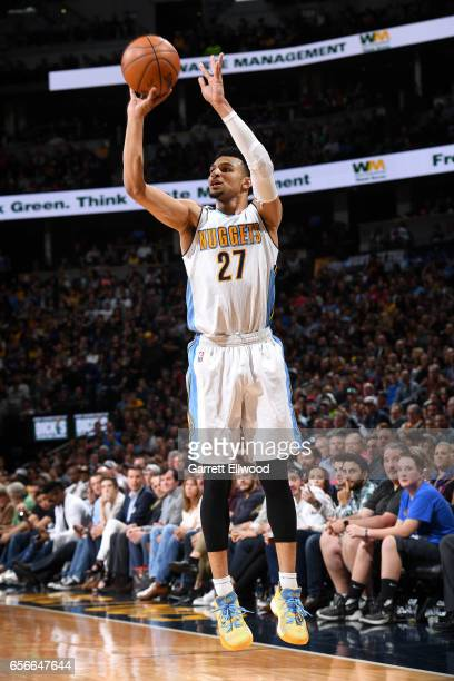 Jamal Murray of the Denver Nuggets shoots the ball during the game against the Cleveland Cavaliers on March 22 2017 at the Pepsi Center in Denver...