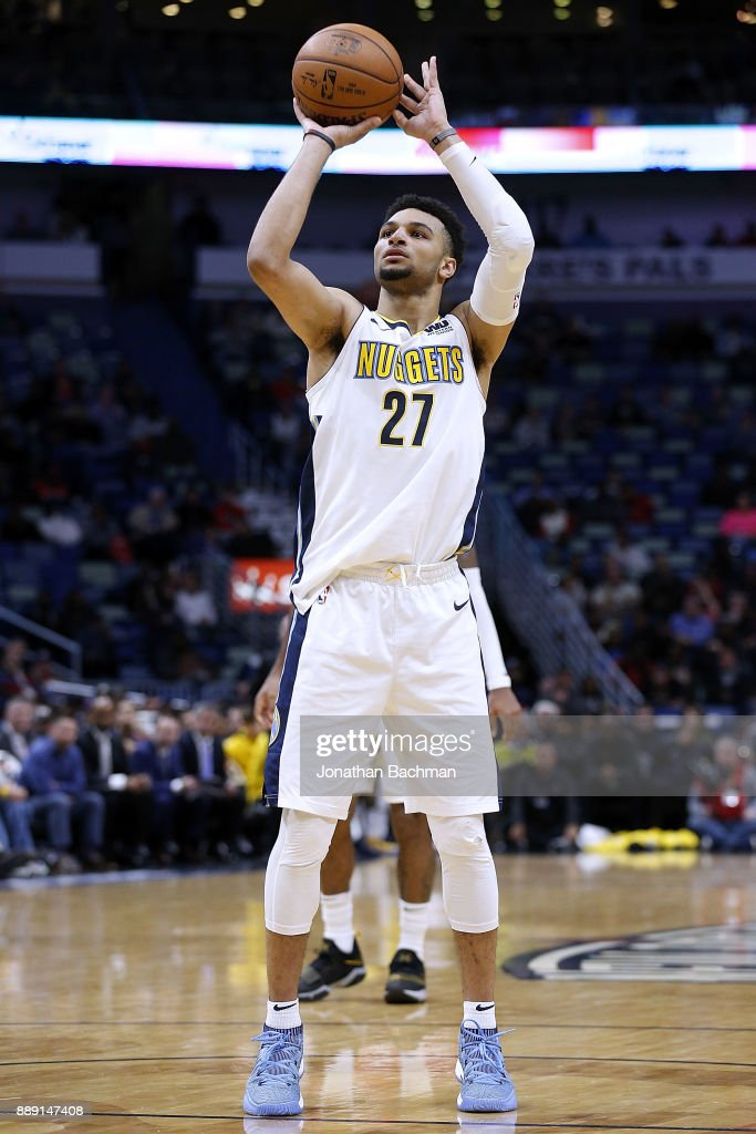 Jamal Murray #27 of the Denver Nuggets shoots the ball during the second half of a game against the New Orleans Pelicans at the Smoothie King Center on December 6, 2017 in New Orleans, Louisiana.