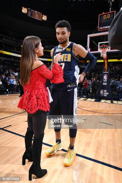 Jamal Murray of the Denver Nuggets talks with media after the game against the New Orleans Pelicans on November 17 2017 at the Pepsi Center in Denver...