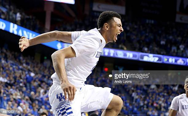Jamal Murray of the Kentucky Wildcats celebrates after a dunk during the game against the Albany Great Danes at Rupp Arena on November 13 2015 in...