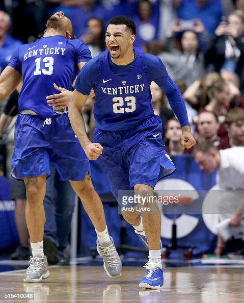 Jamal Murray of the Kentucky Wildcats celebrates after the 8277 OT win over the Texas AM Aggies in the Championship Game of the SEC Basketball...