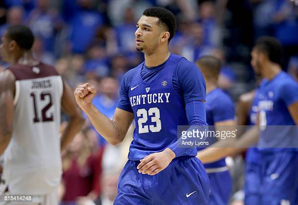 Jamal Murray of the Kentucky Wildcats celebrates during the 8277 OT win over the Texas AM Aggies in the Championship Game of the SEC Basketball...