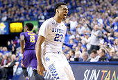 Jamal Murray of the Kentucky Wildcats celebrates in the game against the LSU Tigers at Rupp Arena on March 5 2016 in Lexington Kentucky