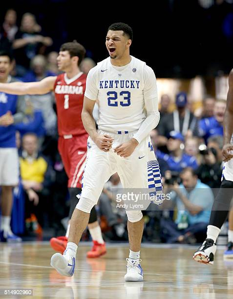 Jamal Murray of the Kentucky Wildcats celebrates in the game against the Alabama Crimson Tide during the quarterfinals of the SEC Basketball...
