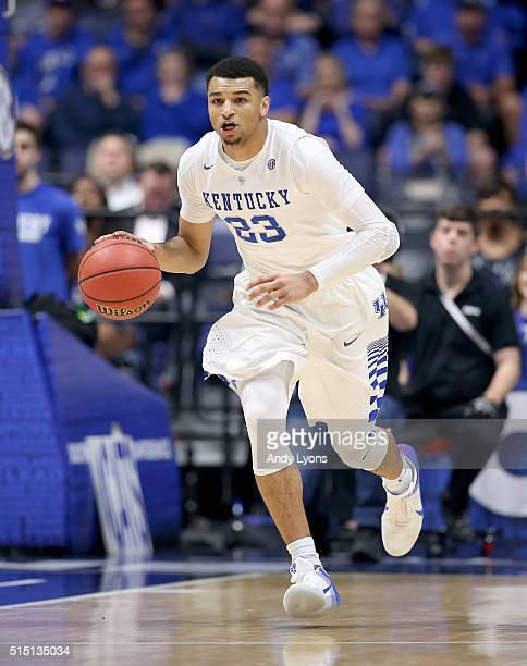 Jamal Murray of the Kentucky Wildcats dribbles the ball in the game against the Georgia Bulldogs during the semifinals of the SEC Tournament at...