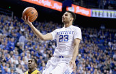 Jamal Murray of the Kentucky Wildcats shoots the ball during the game against the Missouri Tigers at Rupp Arena on January 27 2016 in Lexington...