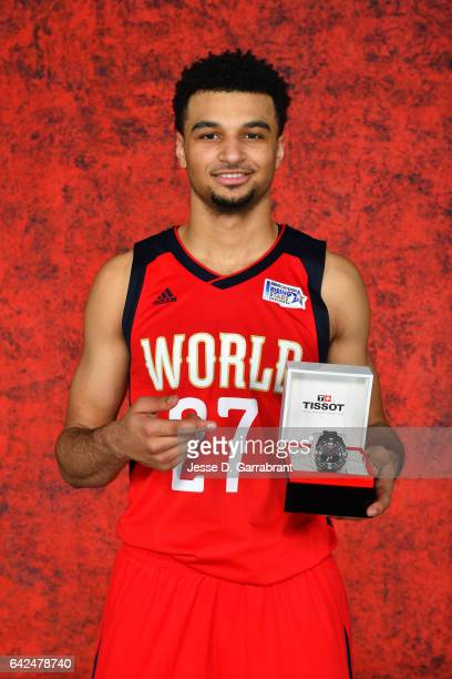 Jamal Murray of the World Team poses with a Tissot watch after the BBVA Compass Rising Stars Challenge as part of 2017 AllStar Weekend at the...