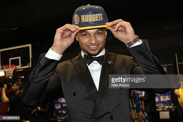 Jamal Murray poses for a photo after being drafted number seven overall by the Denver Nuggets during the 2016 NBA Draft on June 23 2016 at Barclays...