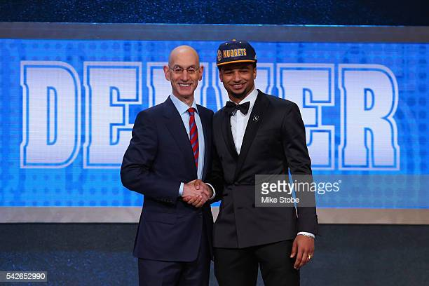 Jamal Murray poses with Commissioner Adam Silver after being drafted seventh overall by the Denver Nuggets in the first round of the 2016 NBA Draft...