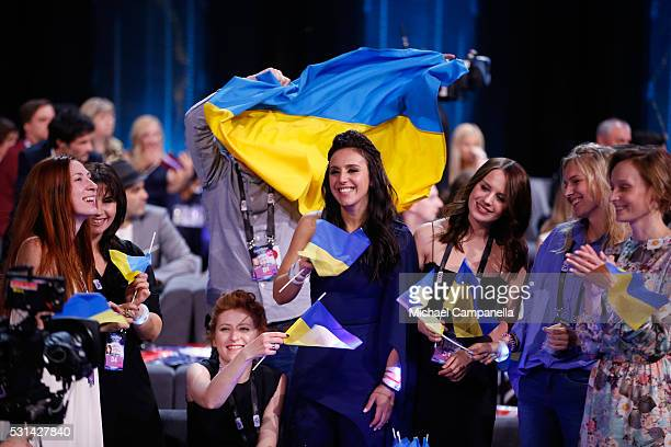 Jamala representing Ukraine is seen at the Ericsson Globe on May 14 2016 in Stockholm Sweden