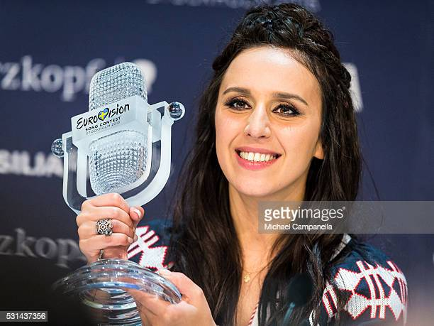 Jamala winner of the 2016 Eurovision Song Contest gives a press conference at Ericsson Globe Arena on May 14 2016 in Stockholm Sweden