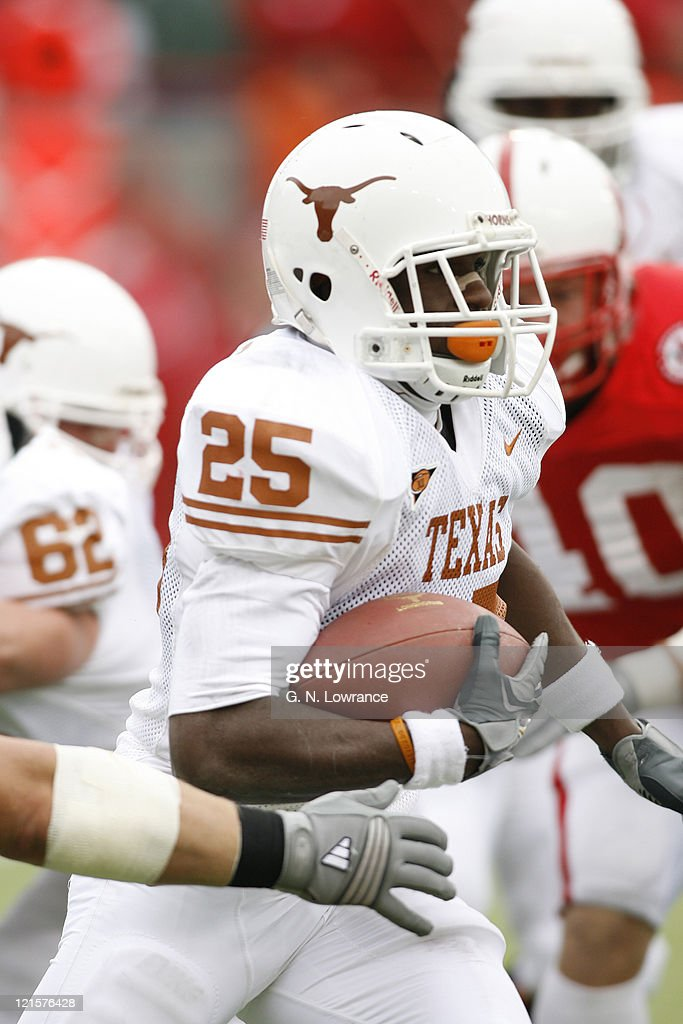 Jamall Charles of Texas runs for yardage during action between the Texas Longhorns and Nebraska Cornhuskers on October 21, 2006 at Memorial Stadium in Lincoln, Nebraska. Texas won the game 22-20.