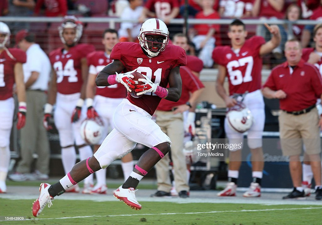 Jamal-Rashad Patterson #21 makes a reception for a 70 yard touchdown in the second quarter giving the Stanford Cardinal a 10-7 lead over the Washington State Cougars of the Stanford Cardinal at Stanford Stadium on October 27, 2012 in Palo Alto, California.