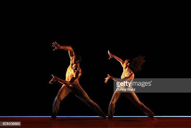 Jamar Roberts and Constance Stamatiou perform during Alvin Ailey American Dance Theater's rehearsal of 'Completed Untitled America' at New York City...